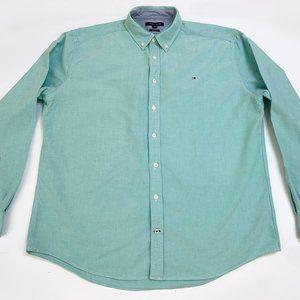 Tommy Hilfiger XXL Green Turquoise Custom Fit Shir